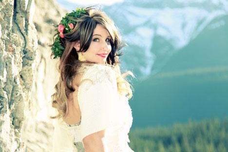 Beautiful Canadian Bride: Kristina, in the Rockie Mountains (Kyla Mae Wedding Photography, Calgary, Alberta)