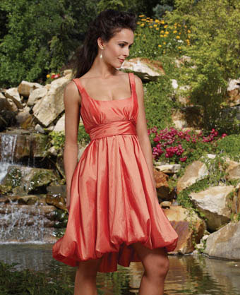 Orange bridesmaids dress: Ray Lia designs, 8402Z