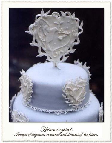 Heart & hummingbirds wedding cake topper