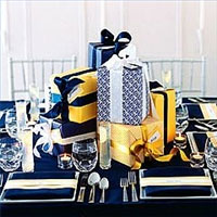 Combination colored gift boxes, as a wedding centerpiece
