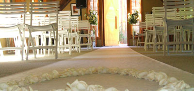 Aisle runner, with floral focal point