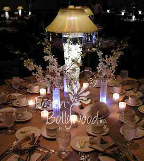 water and light wedding centerpiece, by Fusion Bollywood in Calgary