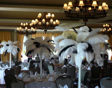 Wedding Decor With Black White Feather Centerpieces