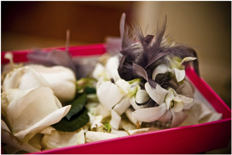 floral feather wedding boutonniere