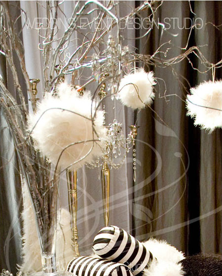 White feather winter wedding centerpieces