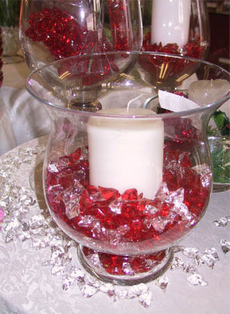 Bell-shaped vase, with candle wedding centerpiece
