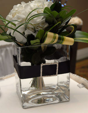 Square glass wedding centerpiece