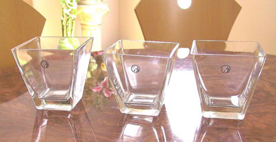 Short, square, urban glass vases