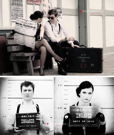 Bonnie & Clyde : movie themed engagement photo idea