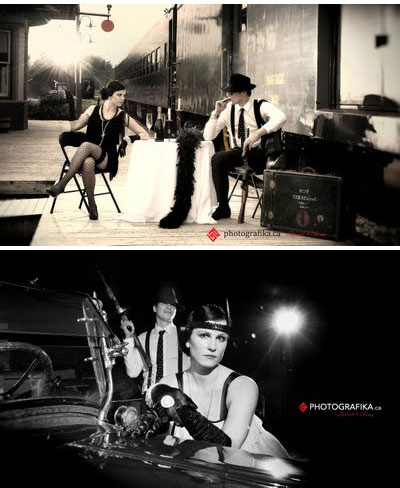 Bonnie & Clyde : movie themed engagement photo idea