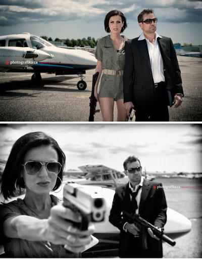 Lames Bond /Bond Girl, 007, themed engagement photo shoot