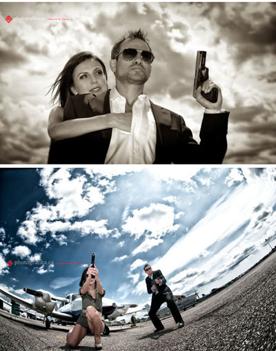 Movie theme engagement shoot Bond- Girl