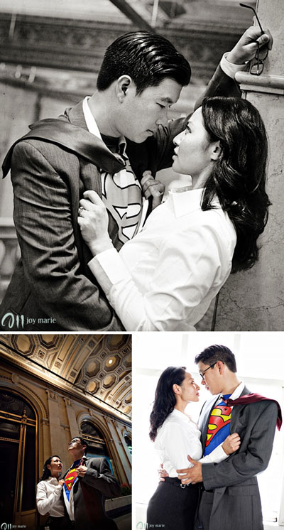 Themed Engagement photography: movie : Lois & Clarke, superman