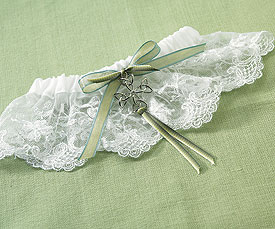 Celtic charm lace bridal garter