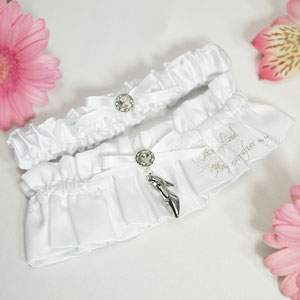 Embroidered bridal garter with charm