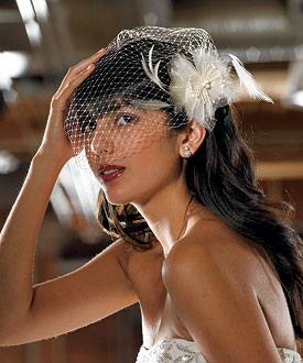 Birdcage wedding veil with feather