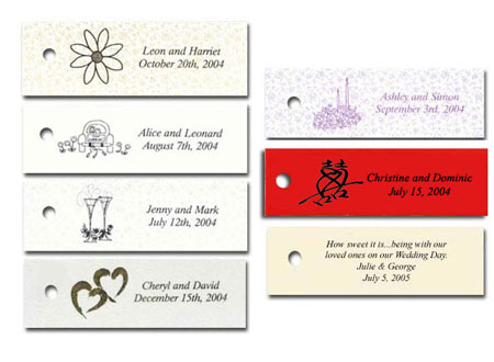Personalized wedding favour tags