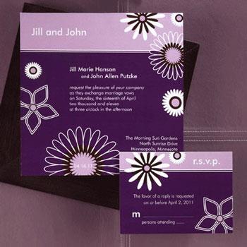 Purple wedding invitation example