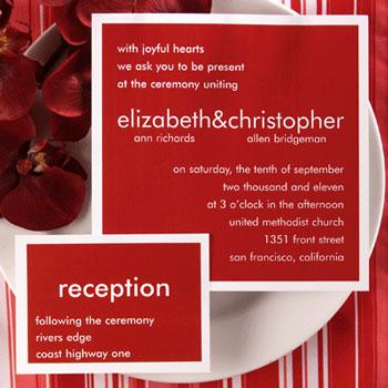 Red custom wedding invitation