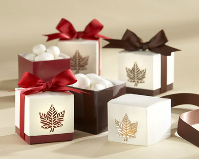 Fall wedding favour boxes