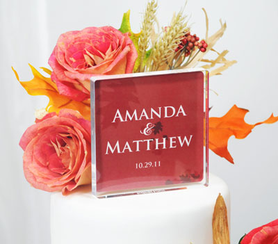 Wedding Cake Topper: personalised, with a fall/autumn theme