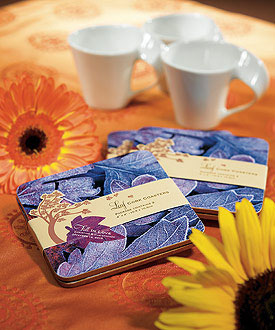 fall themed, personalized coasters: wedding favours