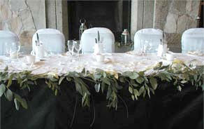 Flowers & green decor: wedding reception head table
