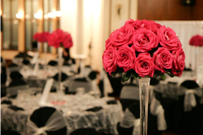 Tall, red rose, wedding floral centrepiece