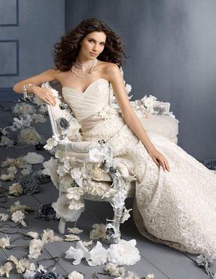 Bride with Paper Flower wedding decor