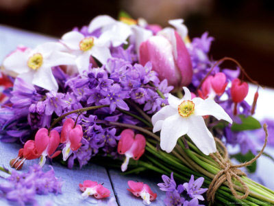 Spring Wedding Flowers: bluebells and daffodils