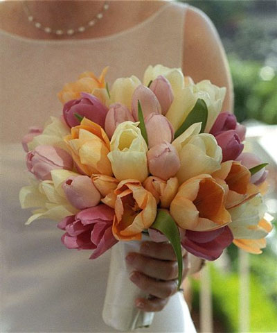 Spring Wedding Flowers: multi-color tulip bridal bouquet