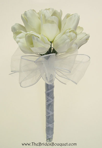 Spring Wedding Flowers: white tulip bridal bouquet