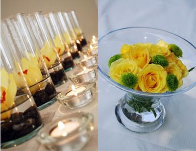 yellow rose and orchide floral DIY wedding centrepiece