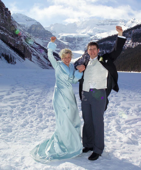 Winter wedding gown for an outdoor winter wedding in Lake Louise, Alberta
