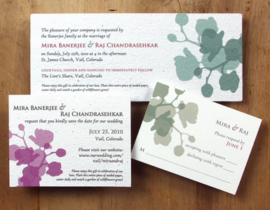 Plantable, green wedding invitation: Orchid design