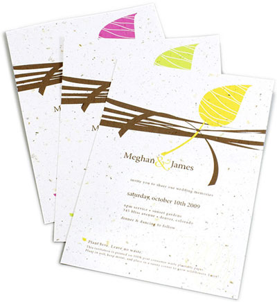 Plantable seed paper wedding stationary