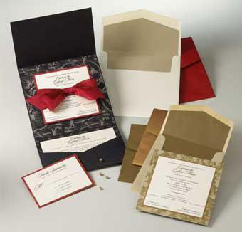 DIY  wedding invitations: pocket-style set