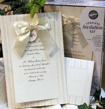 Print-your Own, DIY wedding invitations by Wilton: 'Bow-Ivory'