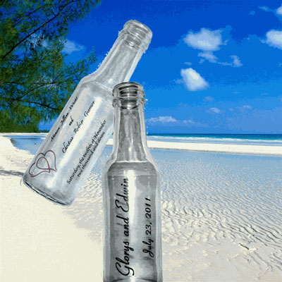 Wedding guest favors, beach wedding, destination wedding, impirnted bottle