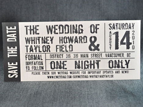 Theme wedding invitation: concert ticket