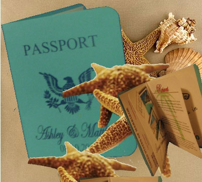 Destination wedding invitation idea: passport