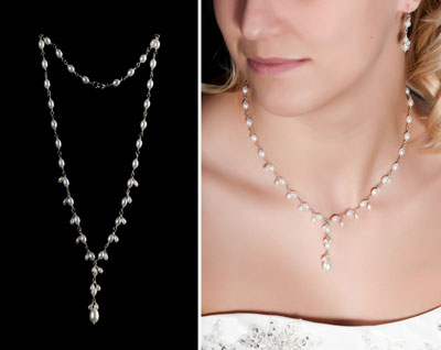 Cascading pearls for bridal jewelry