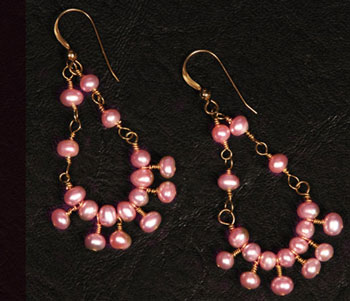 Wedding Jewelry: pale pink, chandelier earings