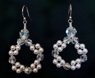 Wedding jewelry: Crystal and Pearl circle earrings