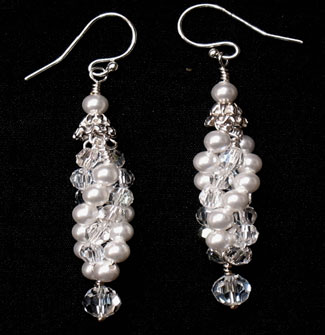 Twist, pearl and crystal bridal earrings