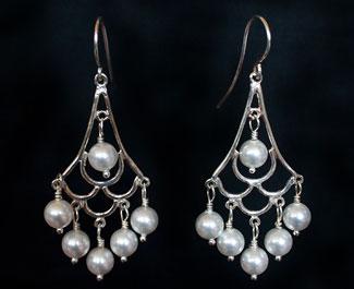 Bridal Jewllery: Silver & pearl chandelier earrings