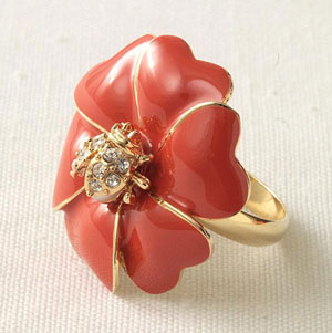 flower / lady-bug ring