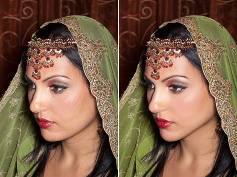 Indian bride, wedding photo, before-after