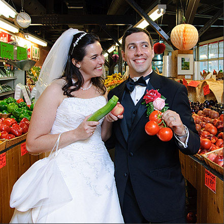 wedding couple in fruit stand