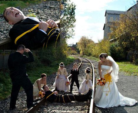 Pichering Wedding Photo: groom on train tracks!